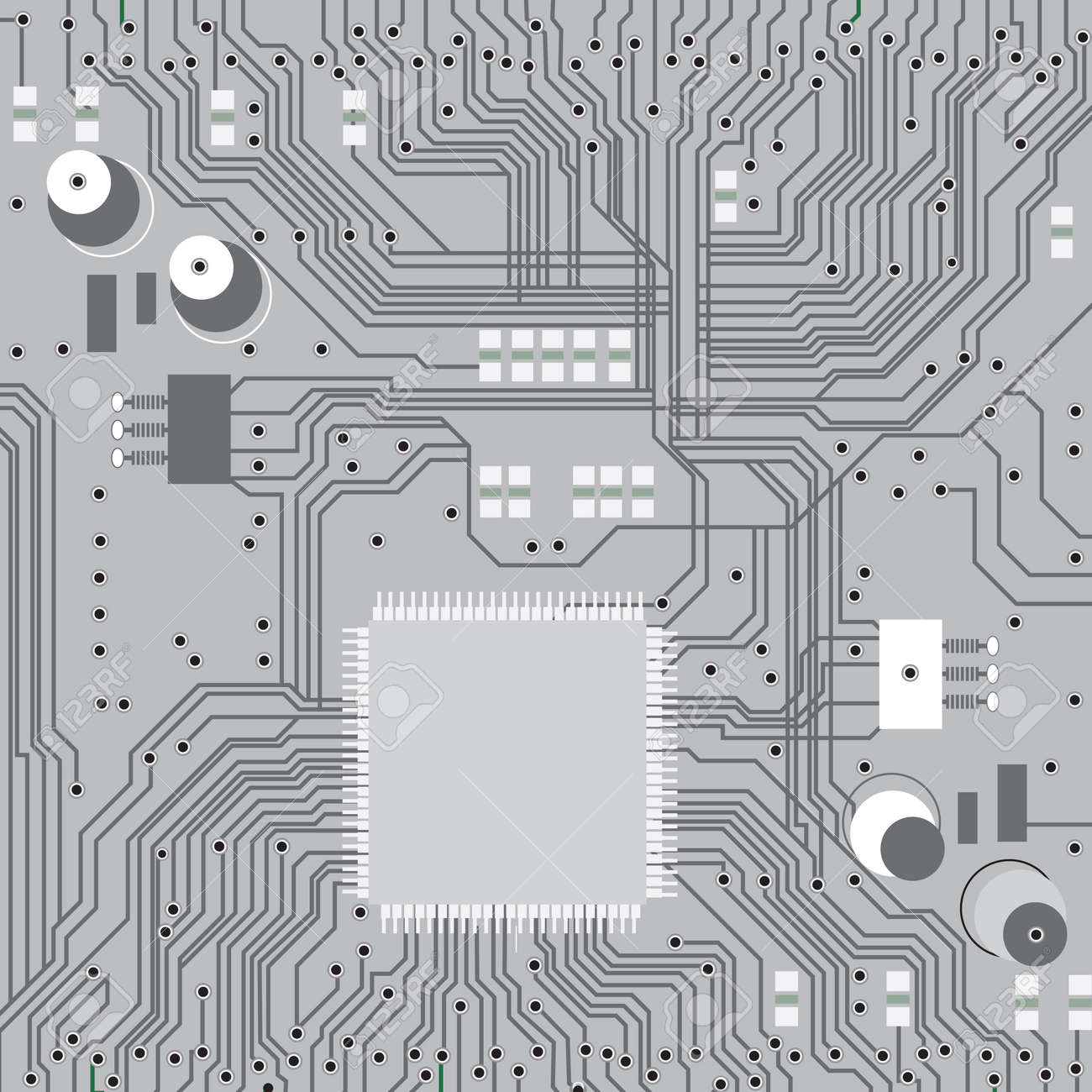 Electronic Circuit Board With Chip, Technology, Microchip Background ...