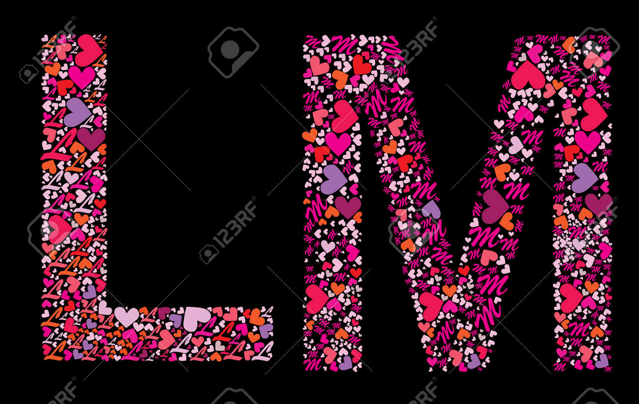 Letter L M Valentine Alphabet Set With Heart Vector Font Stock