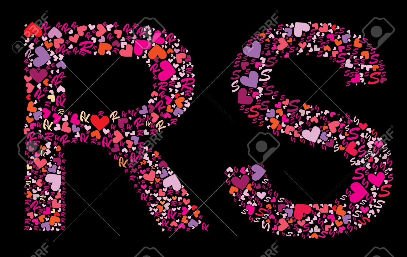 Letter R S Valentine Alphabet Set With Heart Vector Font Stock