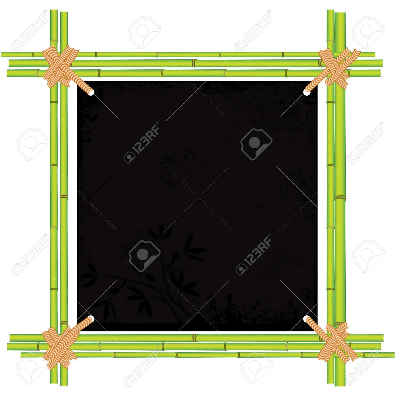 Marco De Bambú Asiático Con El Papel Del Trópico De Edad. Espacio De ...