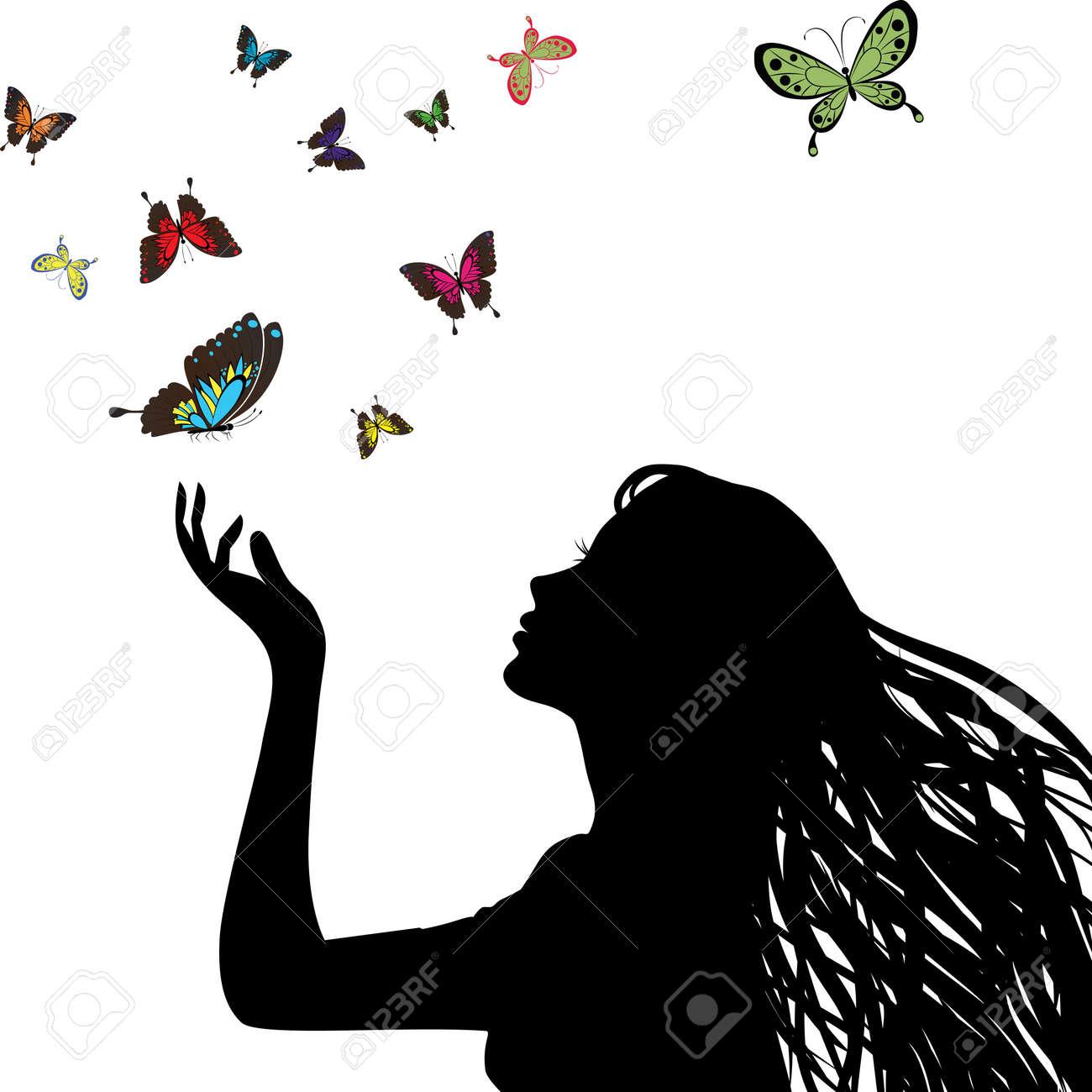 Sexy Vecteur Femme Silhouette Main Profil Jolie Cheveux De Fille De Tête Dessin Papillon Visage Féminin Art Peint Rétro Jeune Personne