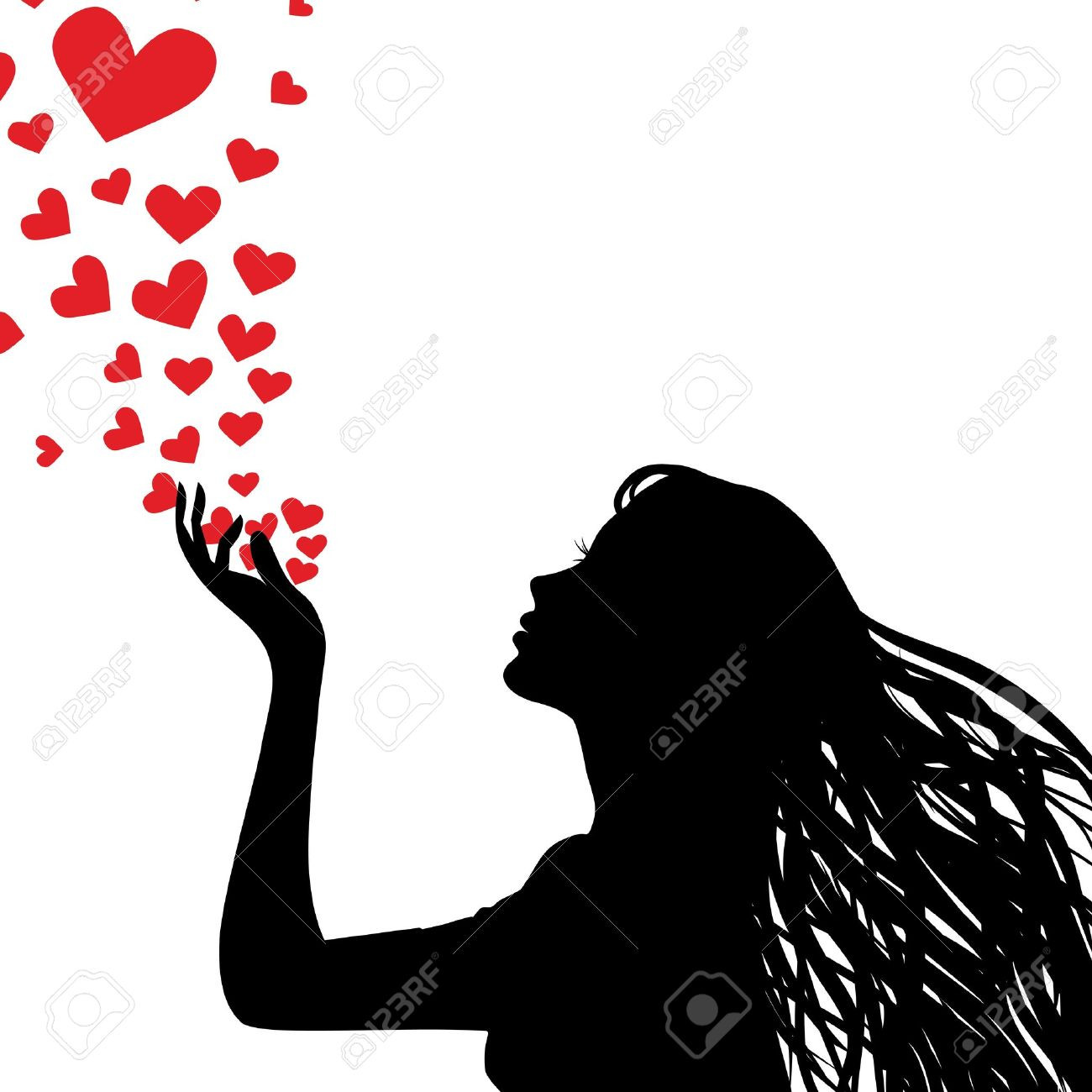 Woman Silhouette Hand. Pretty Girl Blowing Heart. Drawing ...