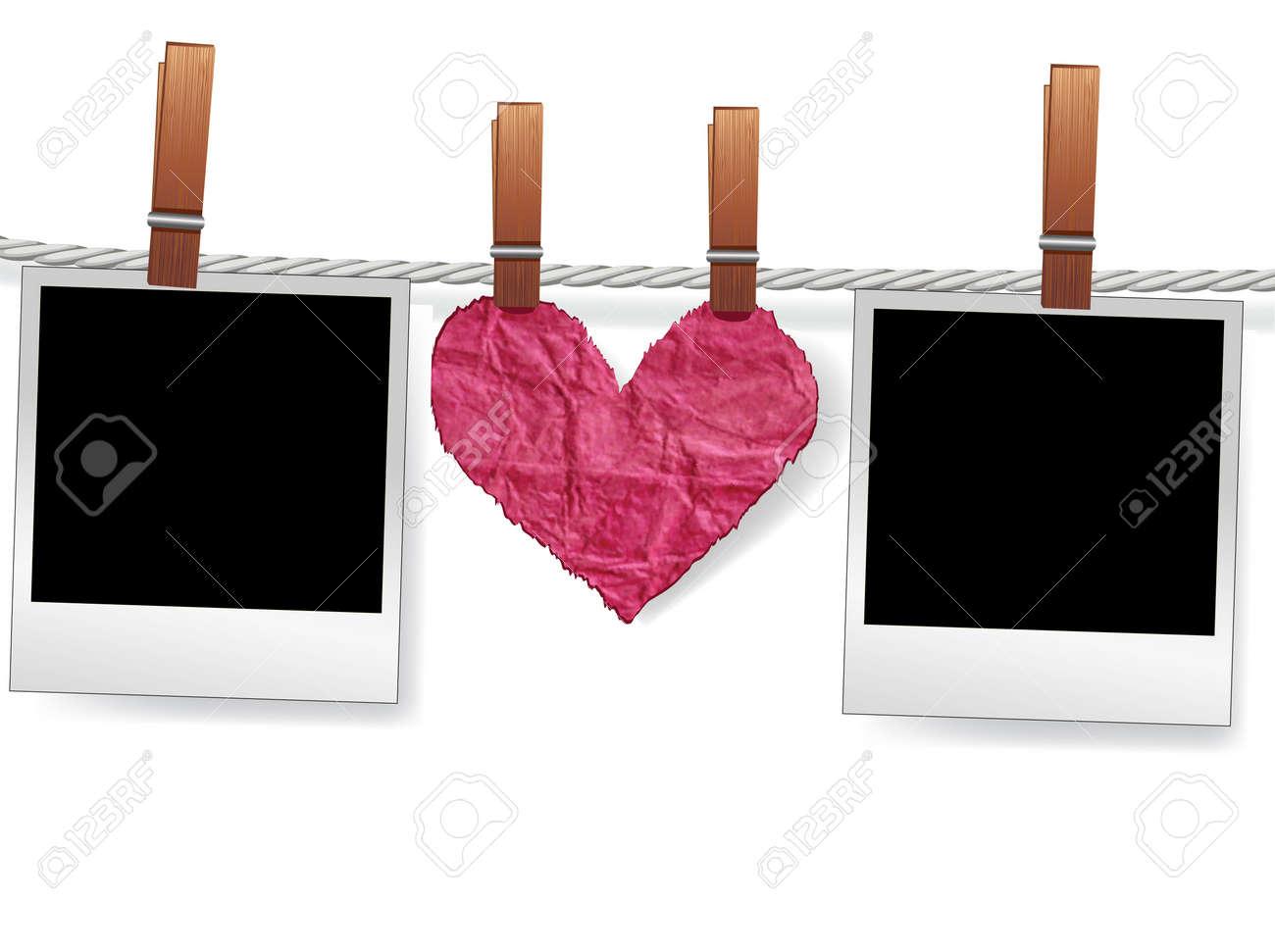 Liebe Nachricht Von Foto-Schnappschuss-Frames Und Herz Auf Seil Für ...