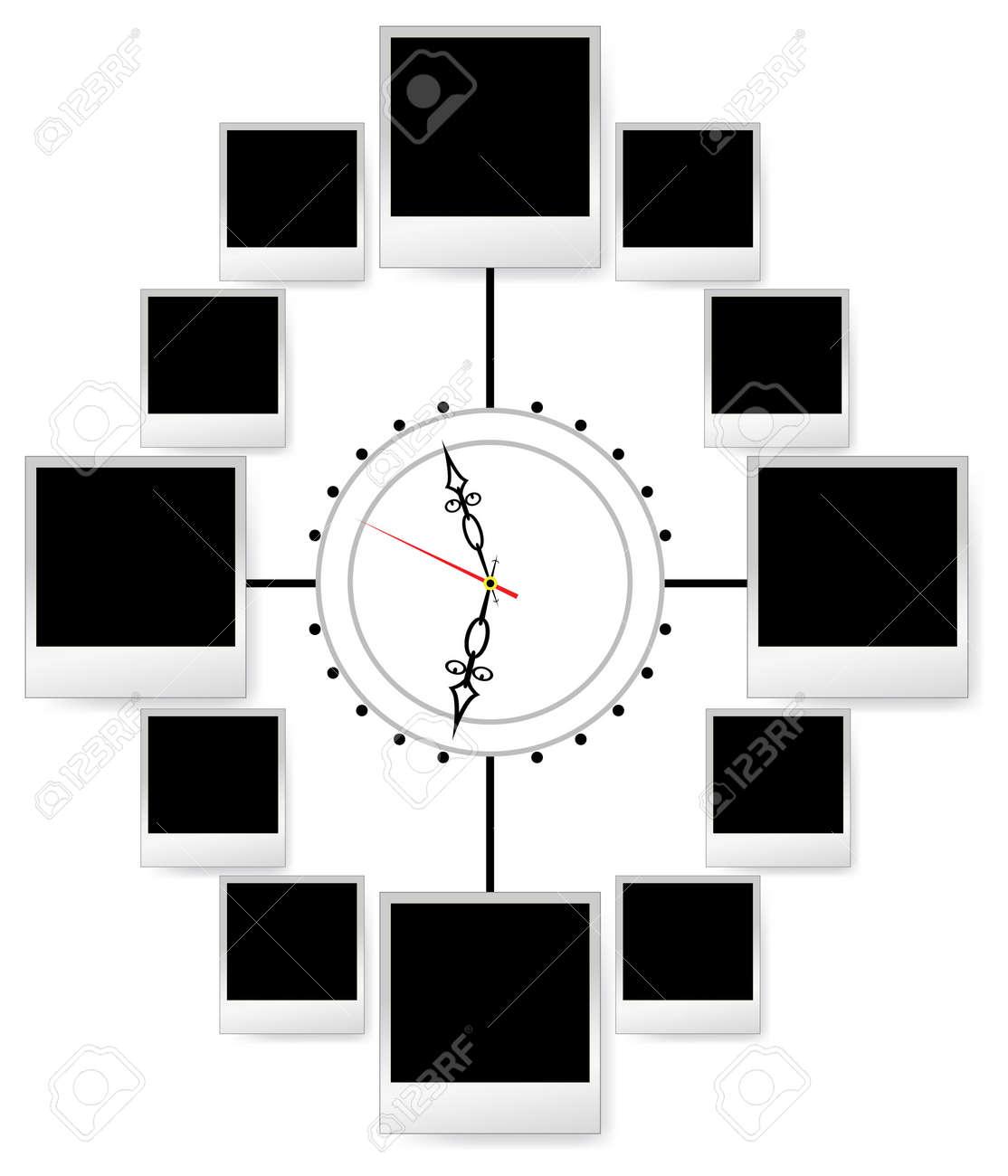 Marco De Fotos Instantáneas En El Reloj De La Chatarra De Vector. En ...