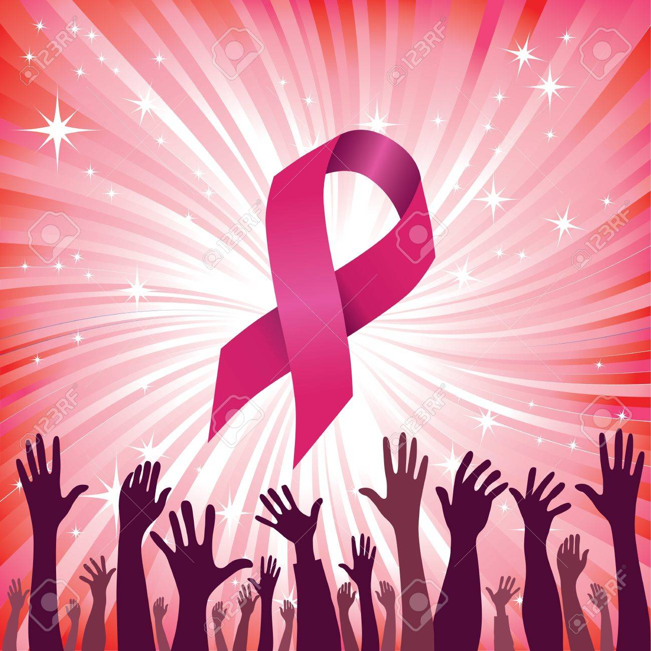 Breast cancer ribbon star background with group of raised hand  Vector illustration  Woman people solidarity Stock Vector - 12492982
