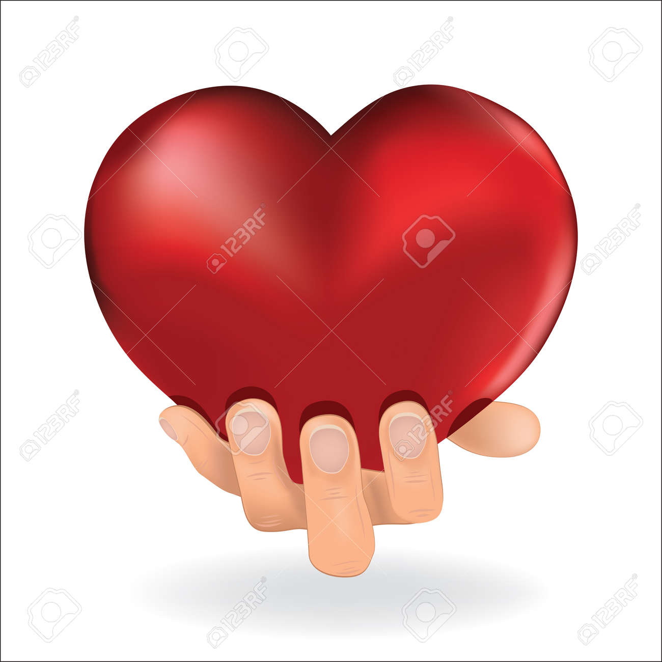 Man hold  love red heart in hand to woman on white background   Vector illustration Stock Vector - 12829627