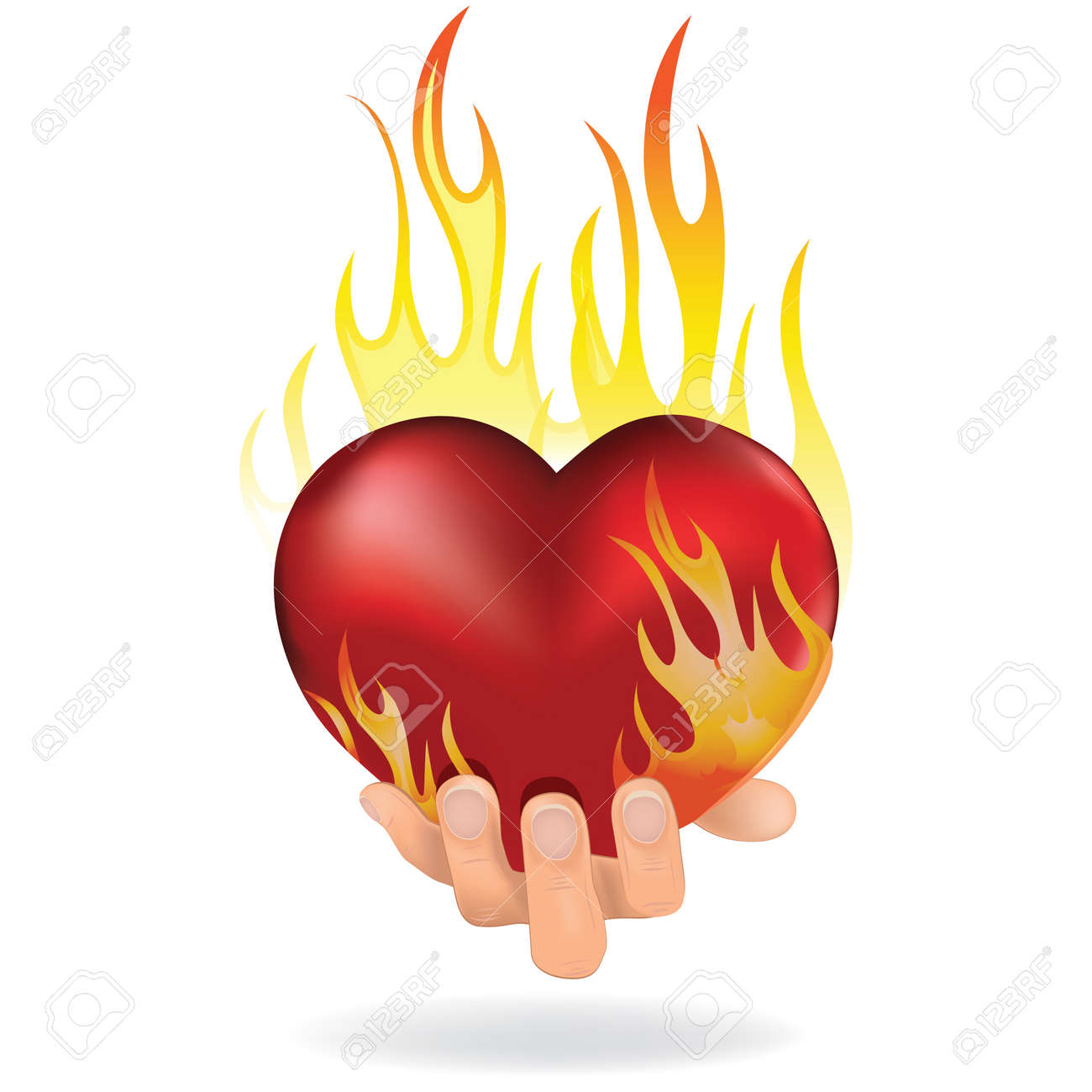 Heart love in fire icon gift to woman  Valentine day passion illustration Stock Vector - 13080885