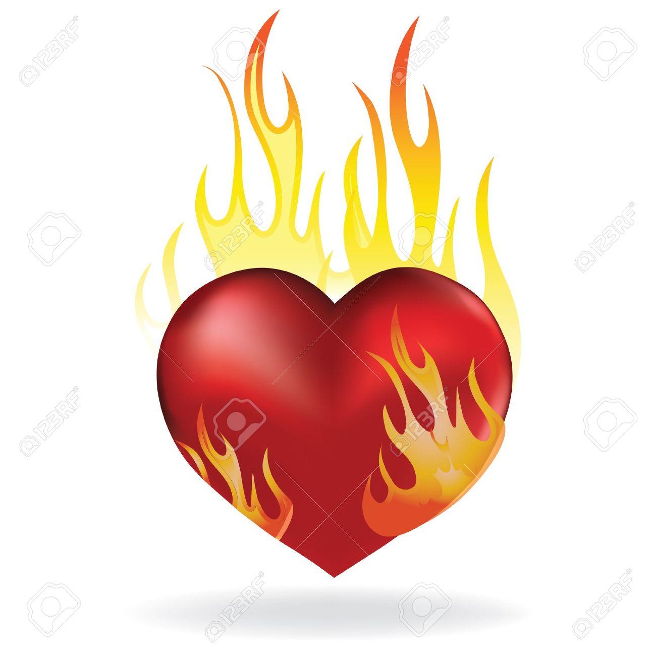 Amour Image Coeur amour coeur dans le tatouage icône feu. illustration valentine