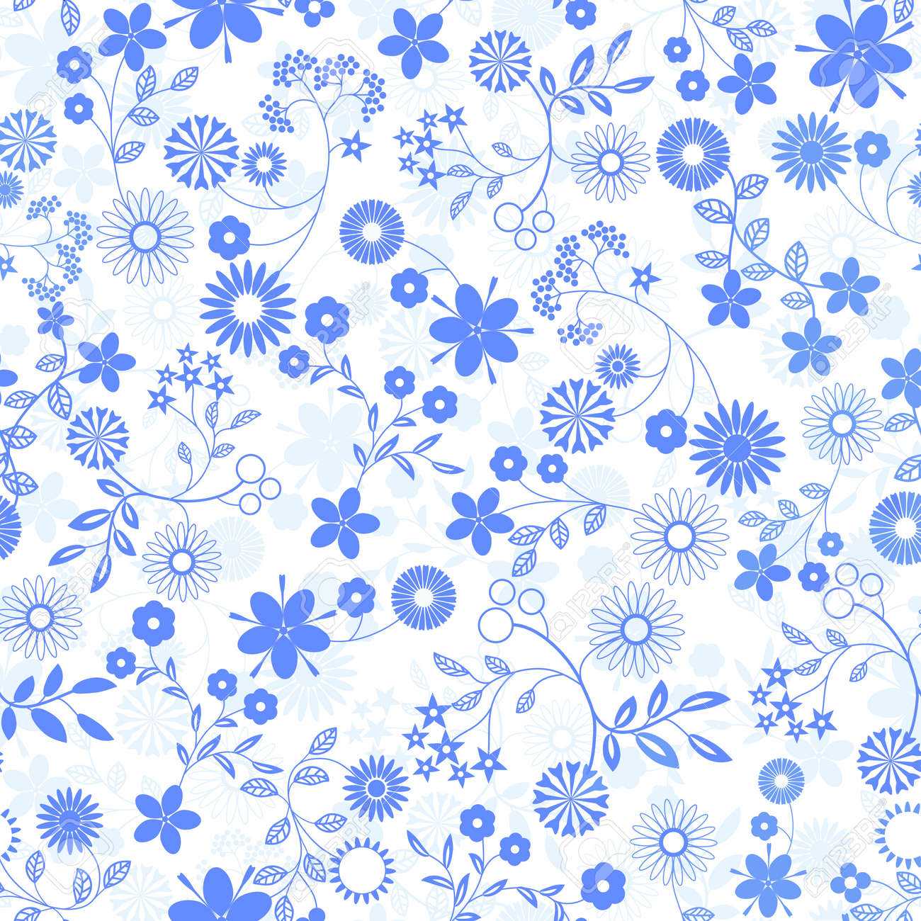 Flower Abstract Seamless Vector Background Art Pattern Fabric ... for Fabric Texture Design Blue  5lp5wja
