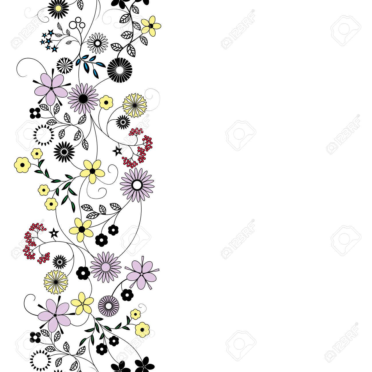 Fleur Abstraite De Fond Sans Soudure Art Vecteur Frontière Motif Texture De Tissu Floral Design Vintage Assez Mignon Dessin Animé Fond Décran