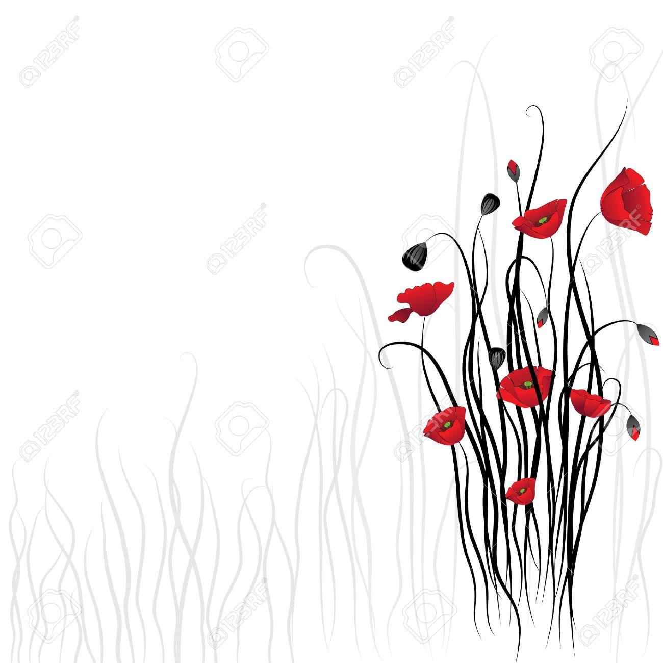 Poppy background. Flower vector background. Art border pattern. Floral vintage design. Pretty cute wallpaper. Feminine filigree Stock Vector - 14187965