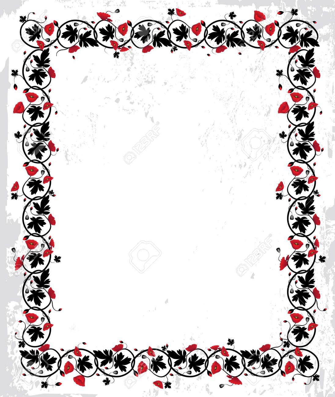 Poppy Frame. Flower Twisted Vector Background. Floral Art Border ...