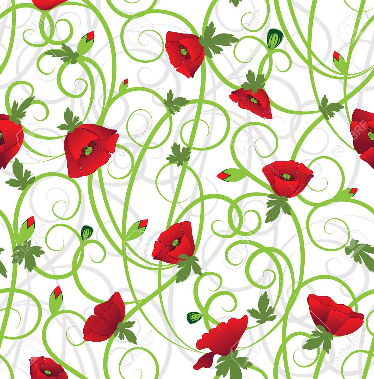 Poppy seamless background. Flower filigree Art border pattern. Floral vintage design. Pretty cute wallpaper. Feminine filigree Stock Vector - 14286605