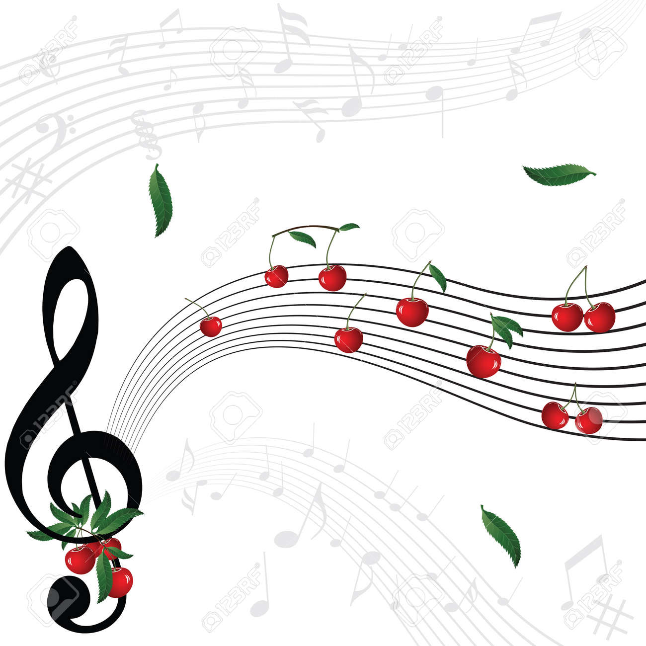 Music notes as cherry berry with floral wave pattern on white background. Stock Vector - 14491741