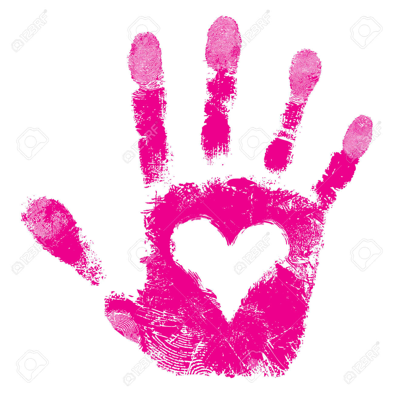 Heart in hand print, people support isolated cute skin texture pattern, love valentine background,grunge illustration Stock Vector - 14806292