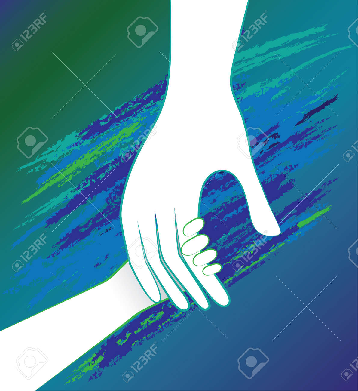 Hand of the child in father encouragement help. Support moral. Stock Vector - 15735295