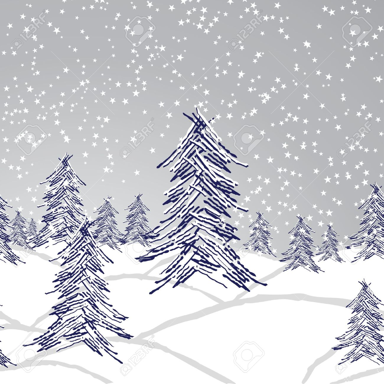 Winter Christmas Landscape Forest Tree Snow Background Seamless Royalty Free Cliparts Vectors And Stock Illustration Image 16319057