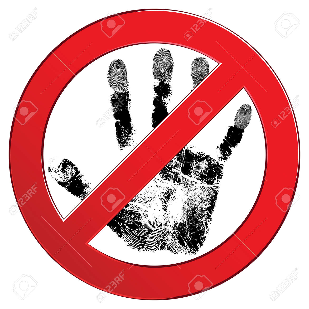 Sign forbidden circle with people hand texture. Don't touch. Prohibited red symbol isolated  illustration. Element for design. Stock Vector - 16439699
