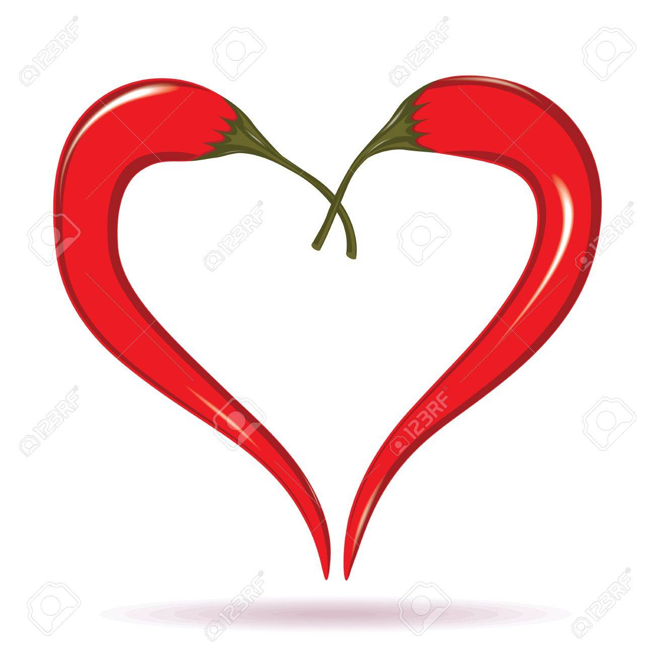 Heart of chili peppers. Hot valentine love symbol to azian mexican cooking. Element for design isolated on white. - 18012249