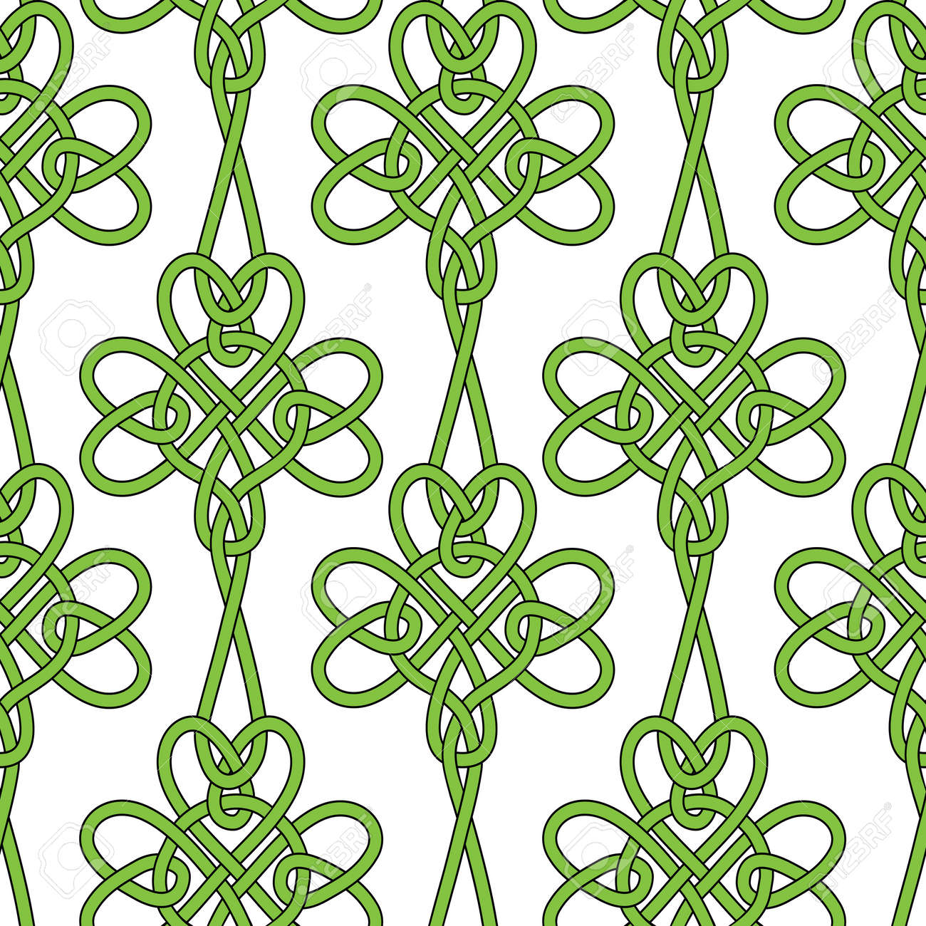 Seamless flower shamrock clover vector leaves background for St. Patrick's Day. Irish illustration. Retro vintage keltik wallpaper. Texture vector illustration. Pattern celtic style. Stock Vector - 18075306