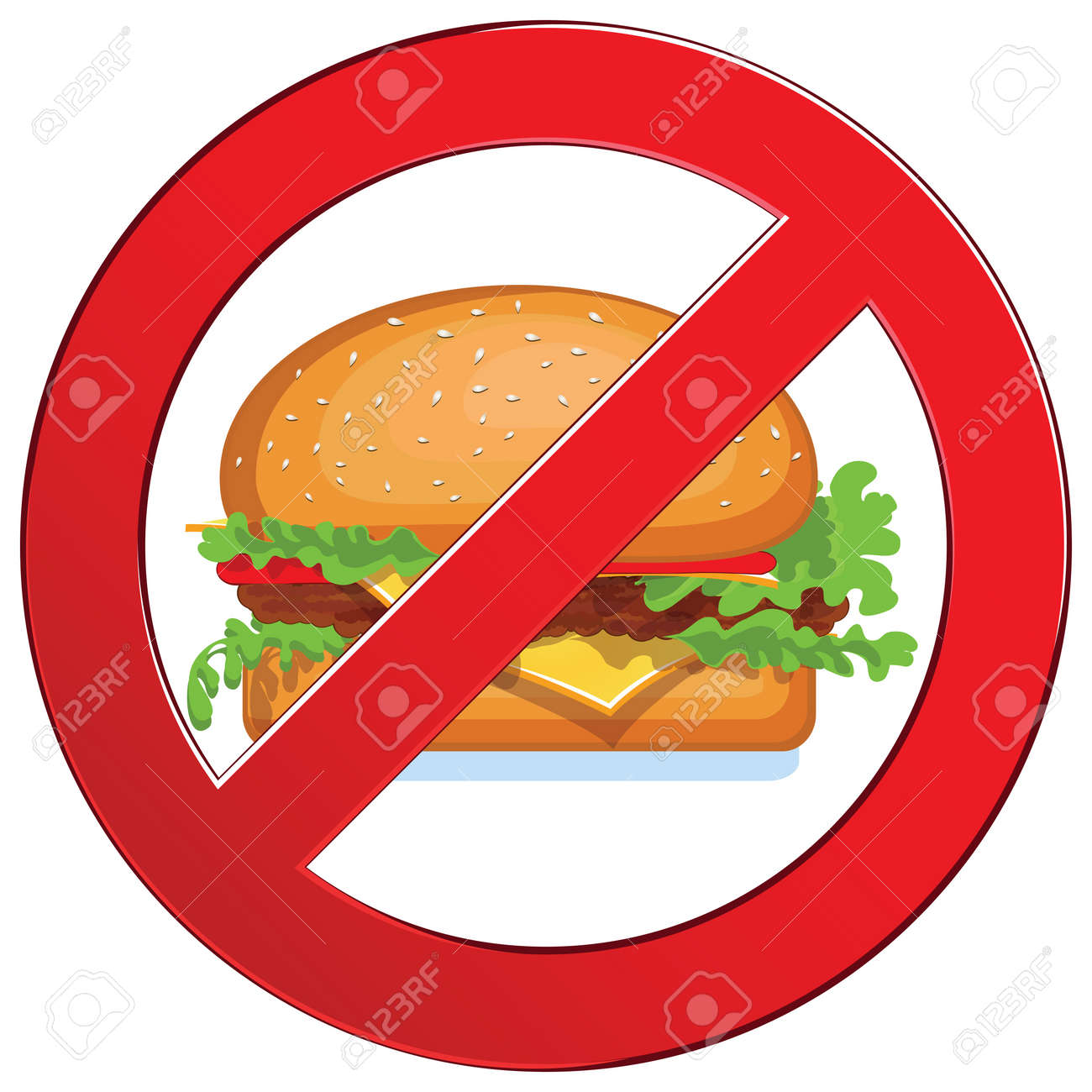 Sign forbidden fast food  Medical concept circle  Prohibited symbol isolated illustration Stock Vector - 18206129