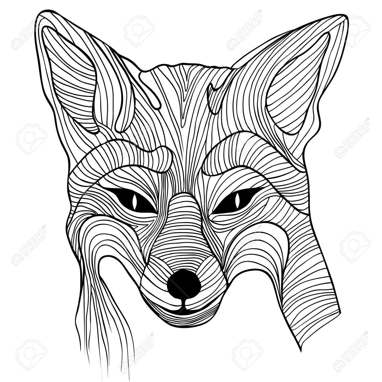 fox  wolf  head   Fox Head Illustration