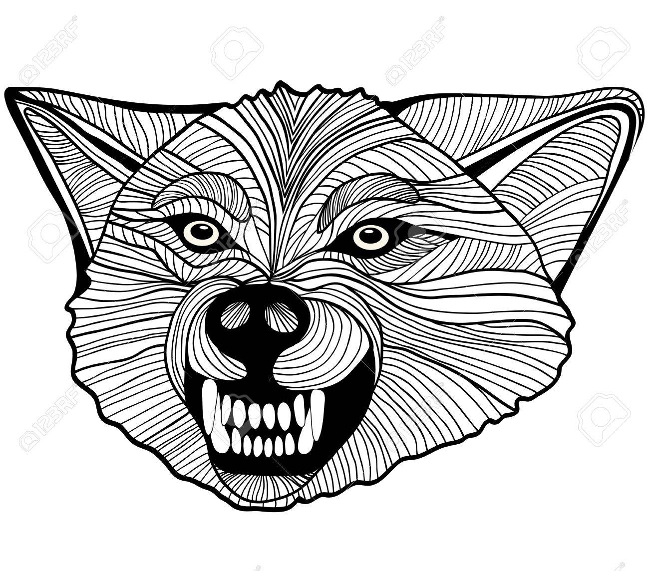 b5b69fbc2957c Wolf head animal illustration for t-shirt. Sketch tattoo design. Stock  Vector -