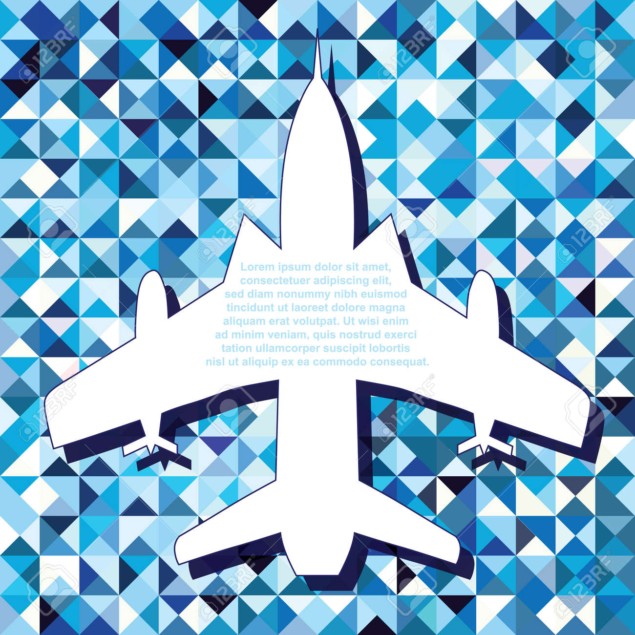 Plane space for text air fly cloud sky geometric blue  seamless travel background  Airplanes vector illustration Stock Vector - 20028261