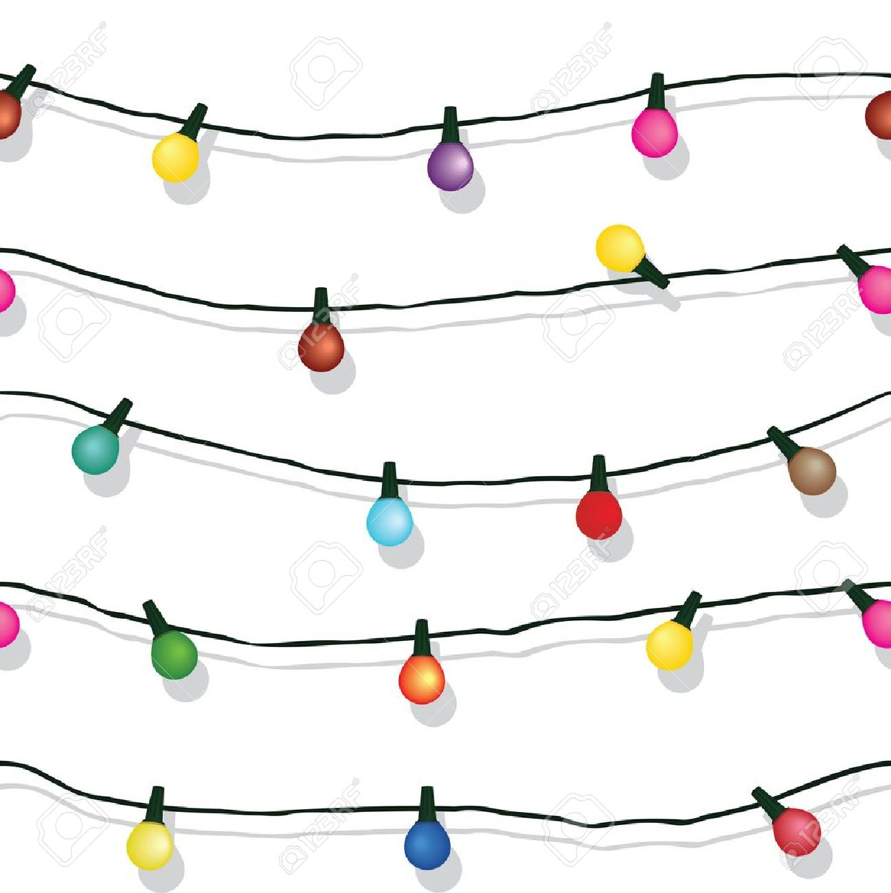 Seamless String Of Christmas Lights On Garland Background Isolated ...