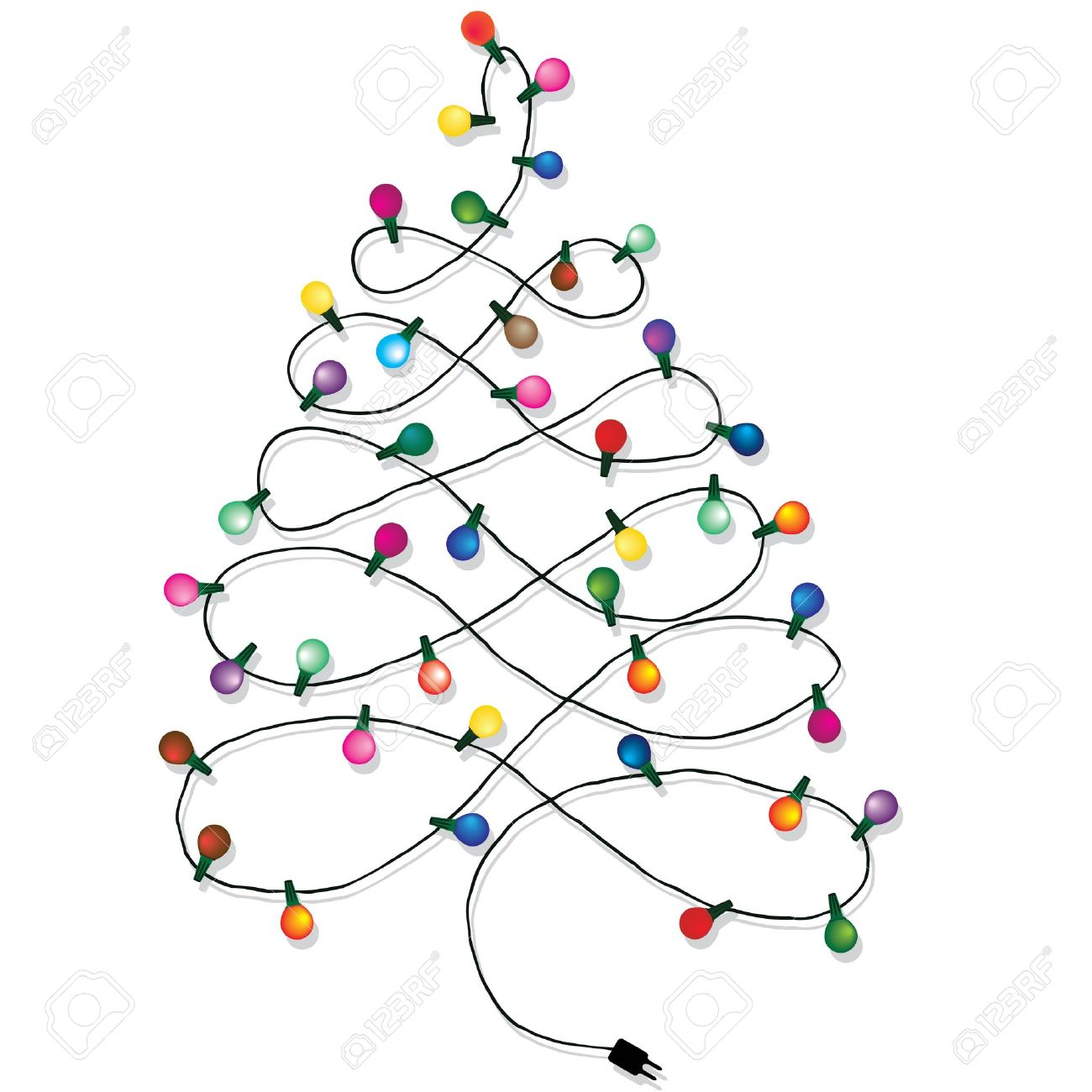 Christmas Tree Garland Lights String Of Background Isolated On White Stock Vector