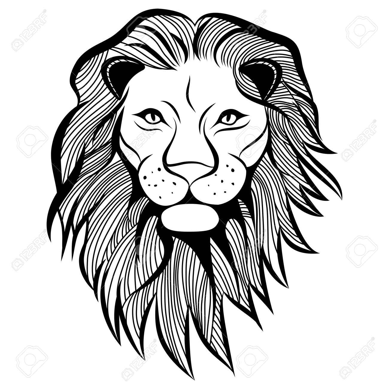 Lion Head Animal Illustration For T Shirt Sketch Tattoo Design