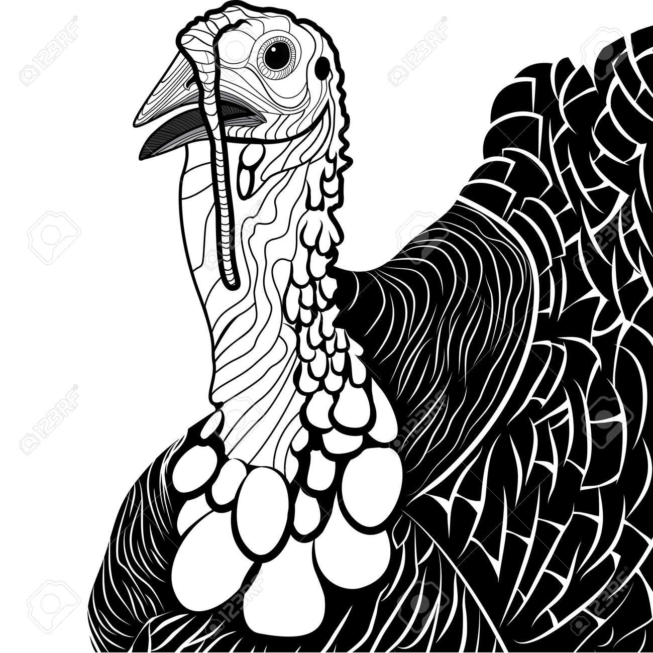 turkey bird head as thanksgiving symbol for mascot or emblem