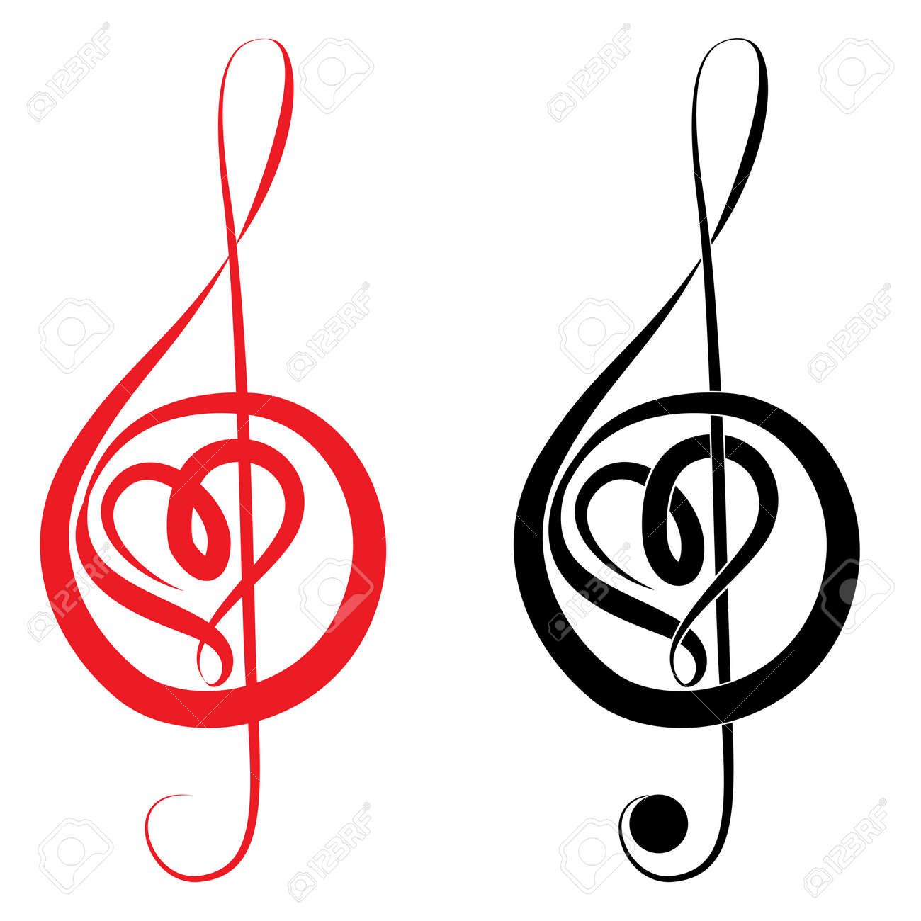 Music Clefs Heart Heart of Treble Clef And Bass