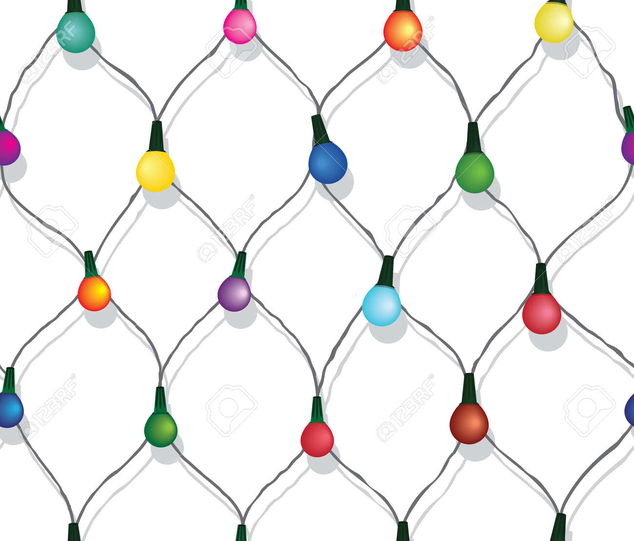 Seamless String Of Christmas Lights On Garland Vector Background Isolated White Stock