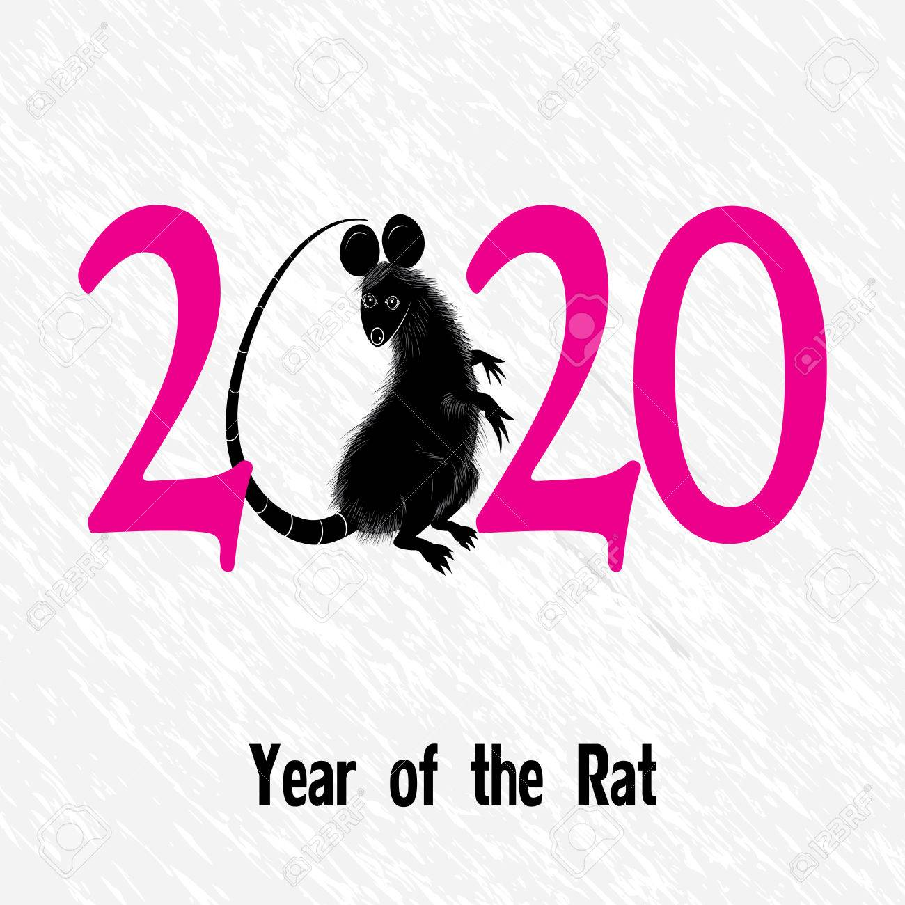 Rat, mouse as symbol for year 2020 by Chinese traditional horoscope