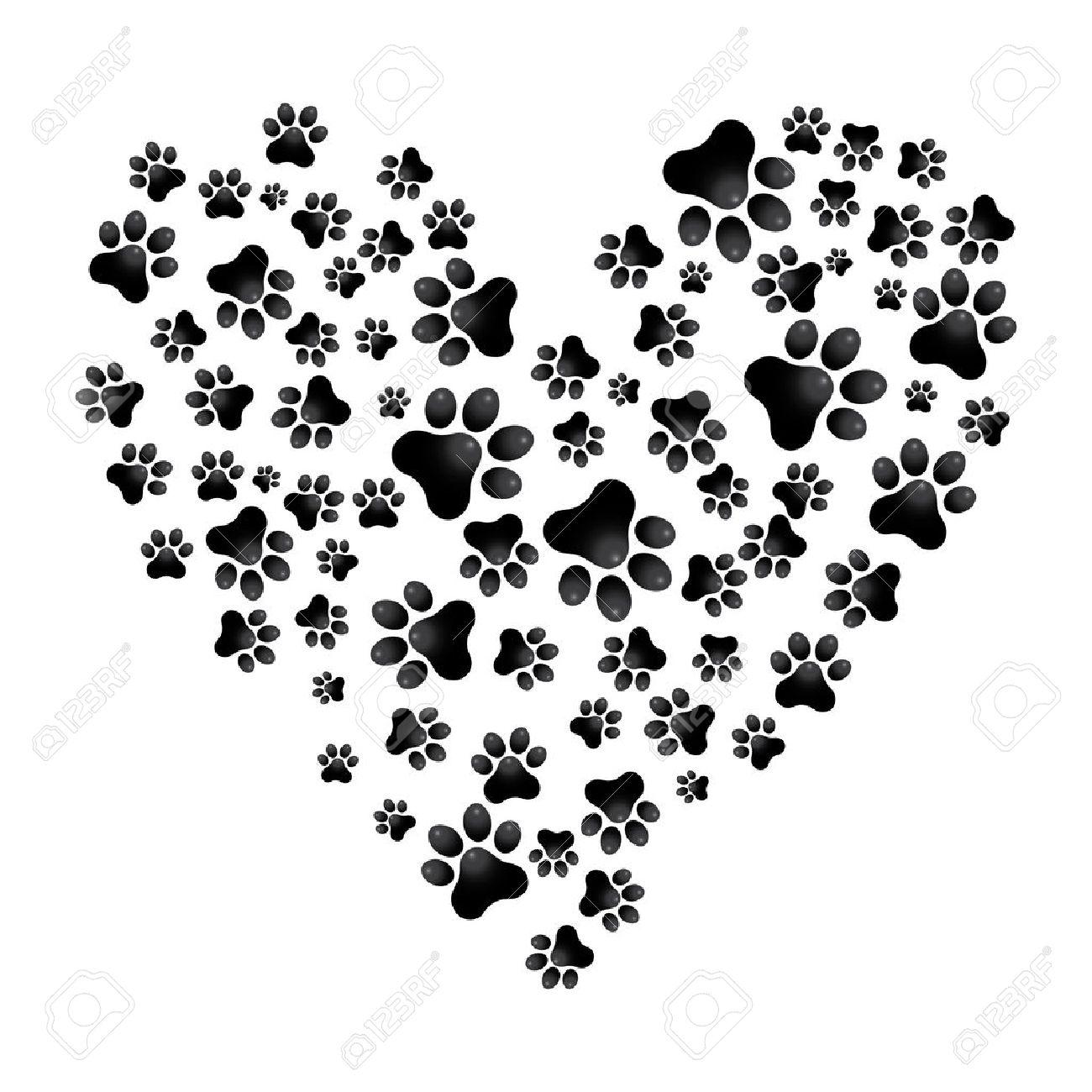 adopt dog paw heart vector animal help illustration royalty free
