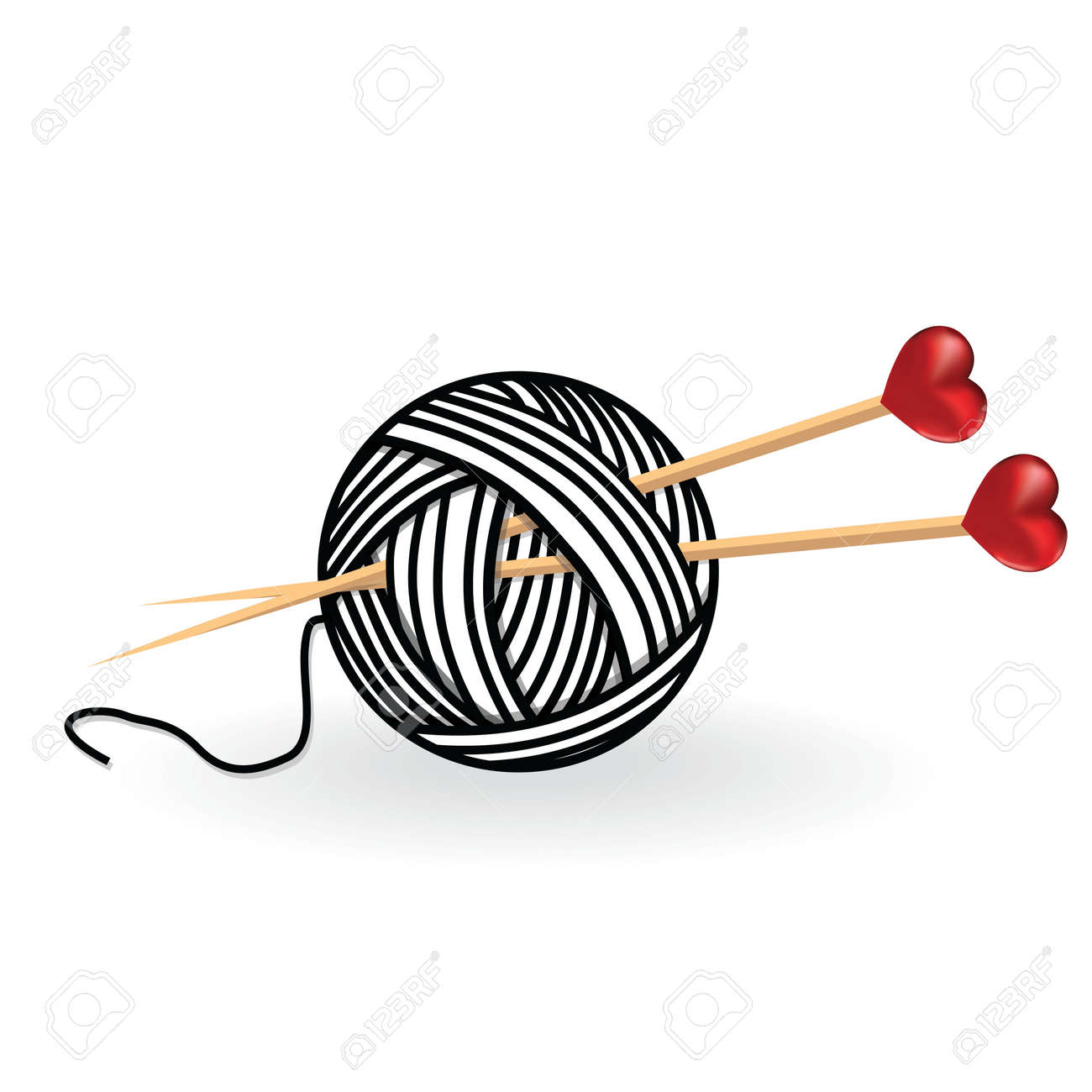 Corazón Lana Tejer Aguja Aisla Afición Handcraft Logo Ilustraciones ...