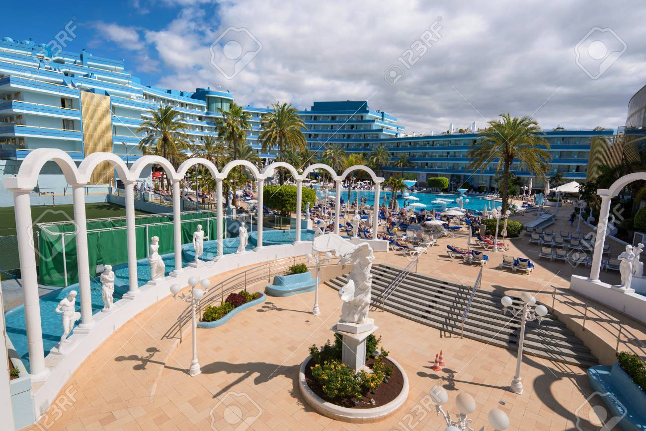 mediterranean palace hotel in las americas on february 23 2016 in adeje tenerife spain las americas is one of the most popular and touristic