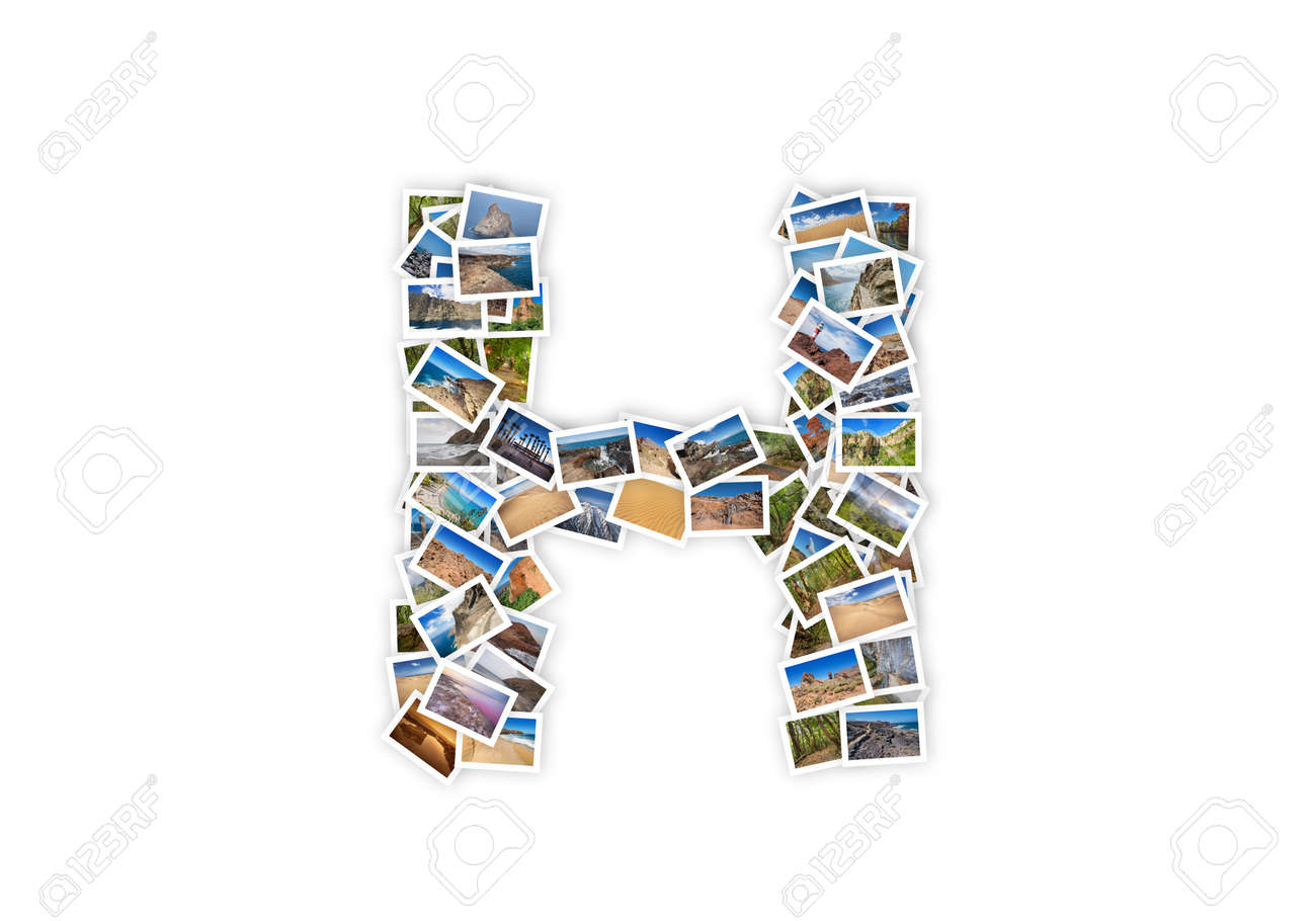 04f4a3a1bc Letter H uppercase font shape alphabet collage made of my best..