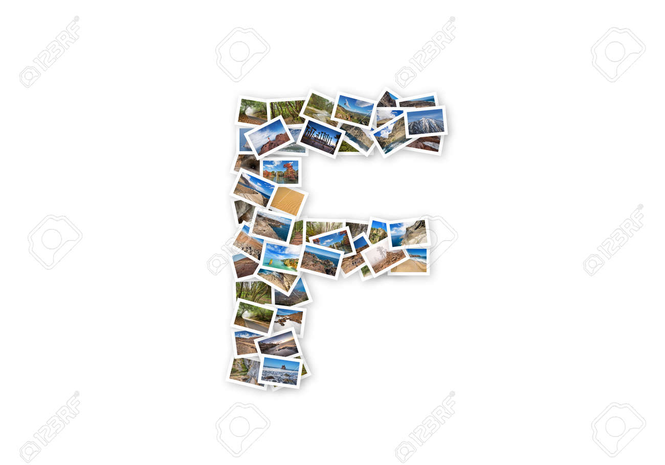 83ce7038a4 Letter F uppercase font shape alphabet collage made of my best..