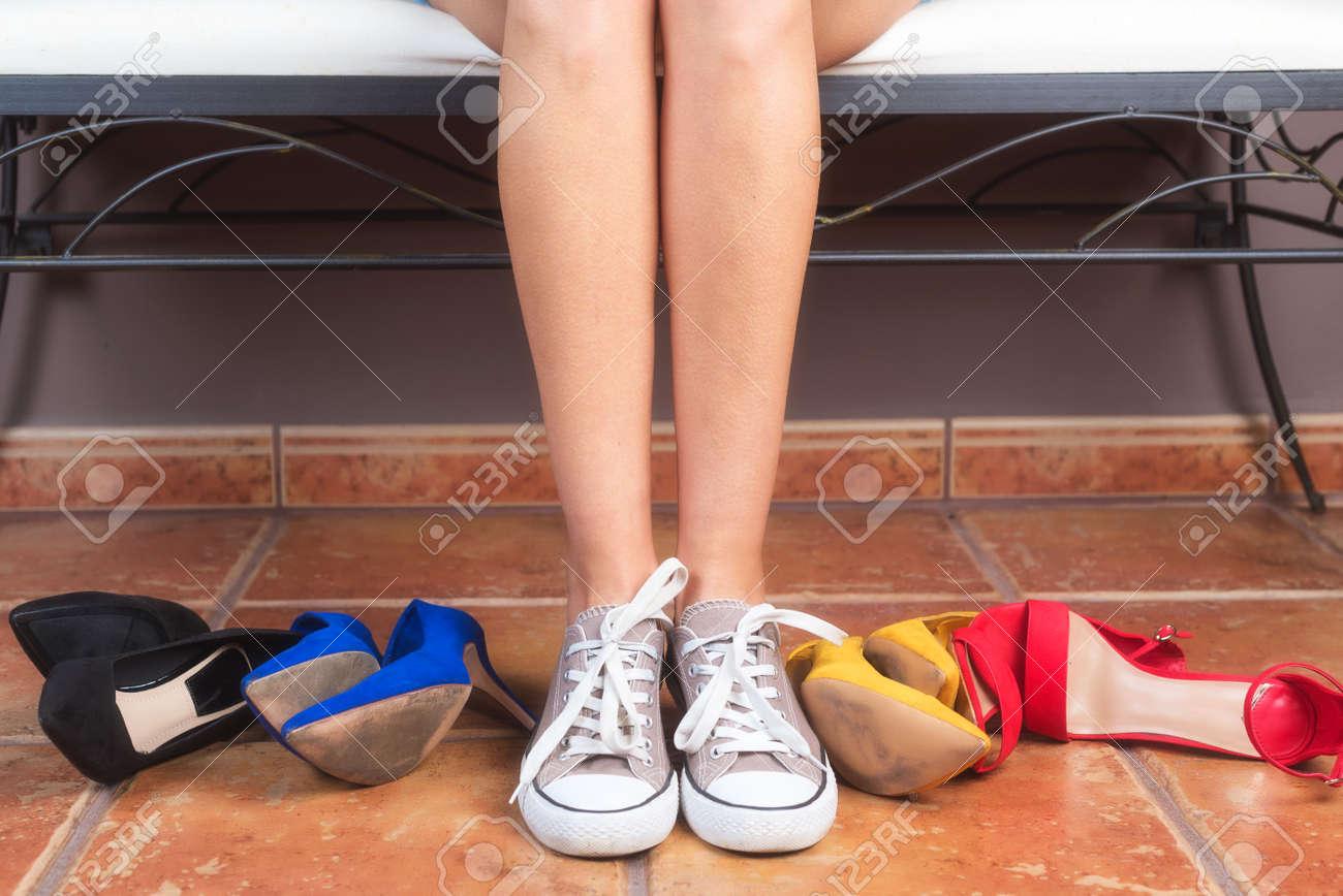 e31e01a818c Stock Photo - Woman with perfect slim legs