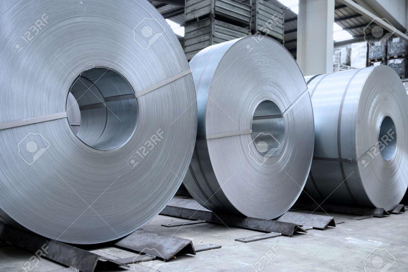 rolls of steel sheet in a plant, galvanized steel coil - 170118052