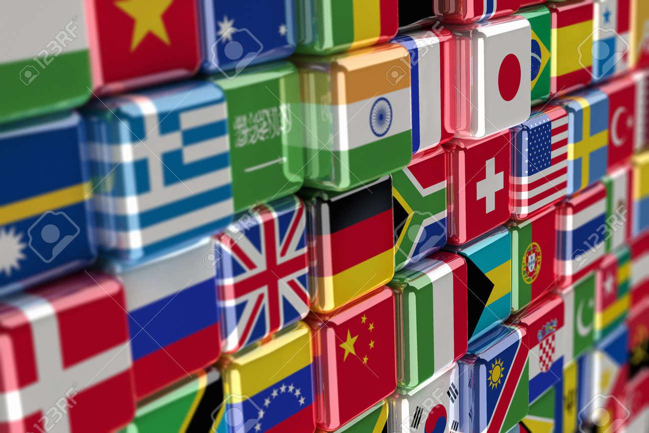 Big pile of international flags Stock Photo - 10884652
