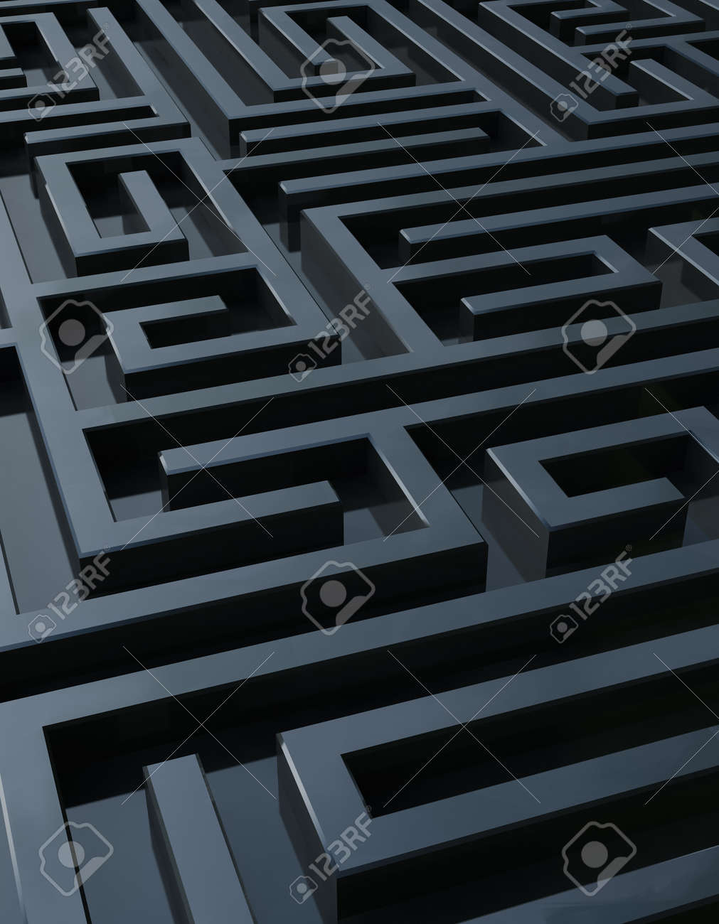 Full Frame Rendering Of A Dark Maze Stock Photo, Picture And Royalty ...
