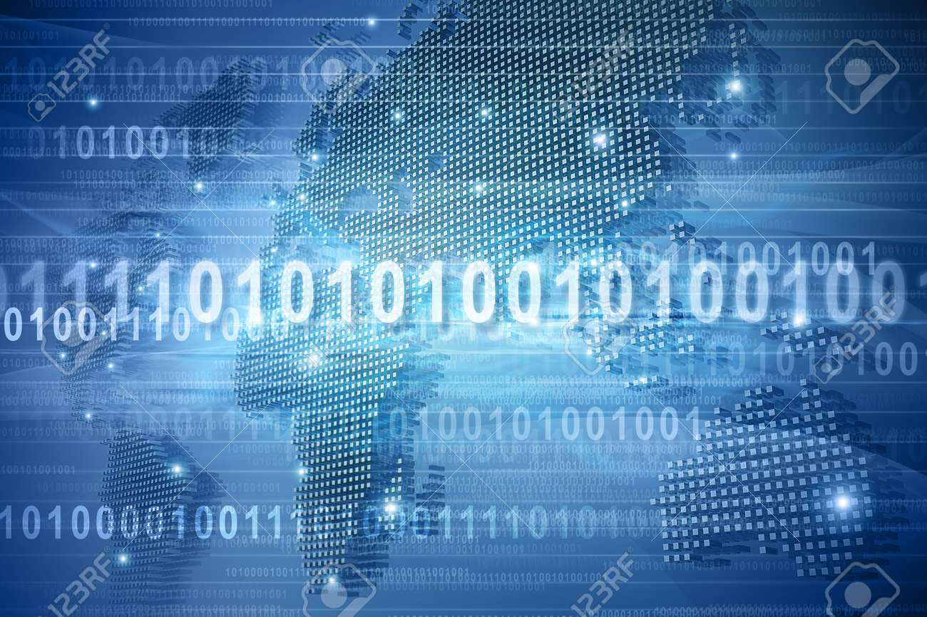 Map of the world in binary code Stock Photo - 10884645