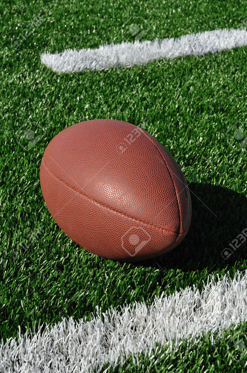 Football near Hash Marks on Artificial Turf Stock Photo - 7067668