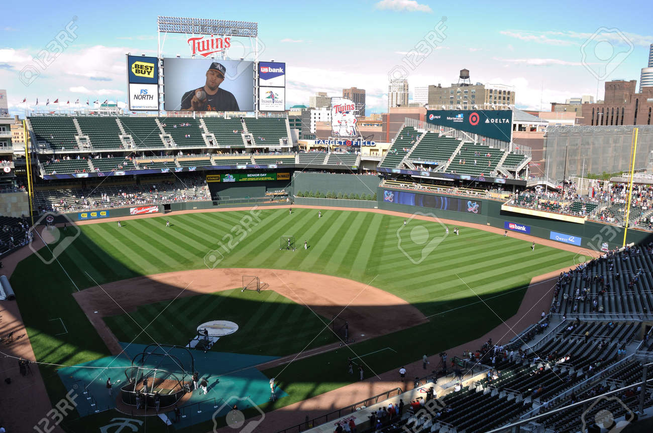 8e031ad52 MINNEAPOLIS, MN - JUNE 15: View of Target Field during batting practice  before Major League Baseball game between the Colorado Rockies and the  Minnesota ...