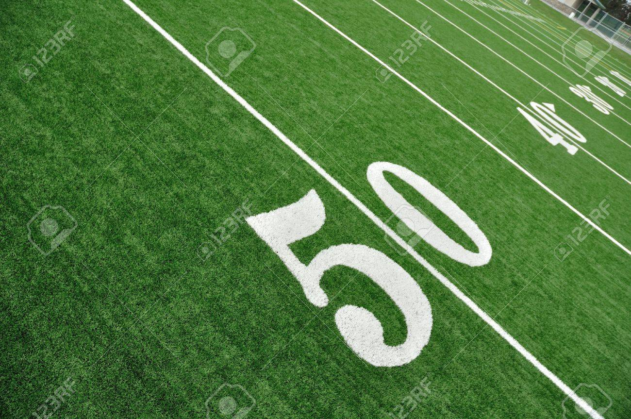 View From Above of 50 Yard Line on American Football Field With Artificial Turf Stock Photo - 10201986