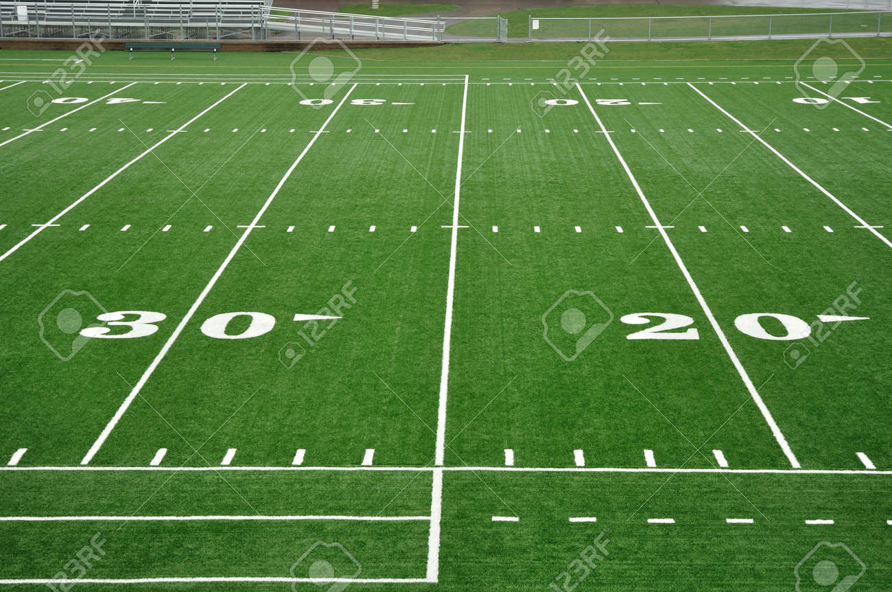 20 and 30 Yard Line on American Football Field Stock Photo - 10302174