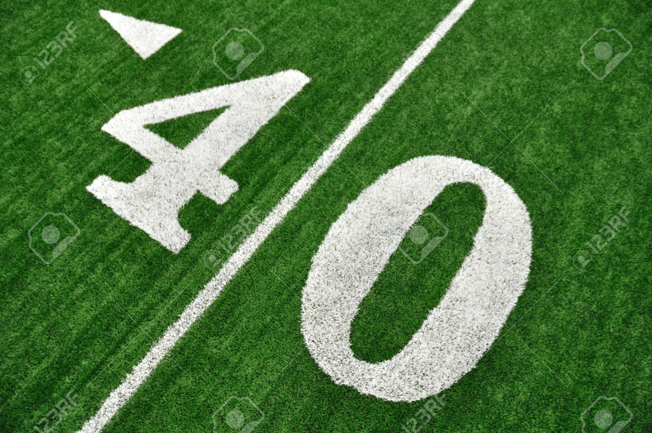 View From Above of 40 Yard Line on American Football Field With Artificial Turf Stock Photo - 10413294